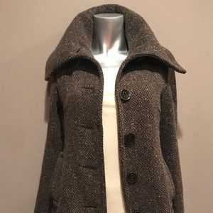 Plush knit high collar pea coat